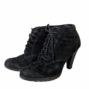 White mountain sugarbabe black suede wedge boots size 7 1/2